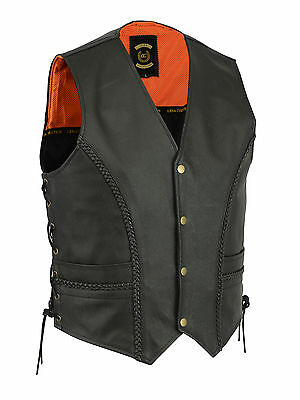 New Briaded Leather  Motercycle  Biker Style Waistcoat Vest  Black  Side Laced