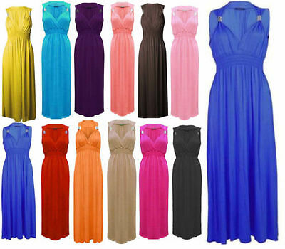 Ladies Women Plain Viscose Spring Coil Sleeveless Maxi Dress one size (UK 8-16)