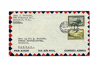 30c airmail to NORWAY  1949  cover Canada