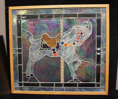 Dichroic Stained Leaded Slag Glass Window Panel Carousel Beaded Goat Horse
