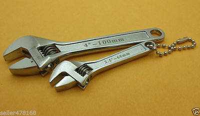 """2 PCS 2.5""""  4"""" Inch mini Metal Adjustable Wrenches Hand 0-10mm 0-15mm Jaw Wrench"""