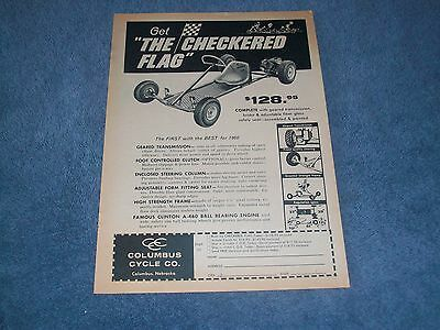 """1960 Checkered Flag Kart Vintage Ad """"The First with the Best for 1960 Go-Kart"""