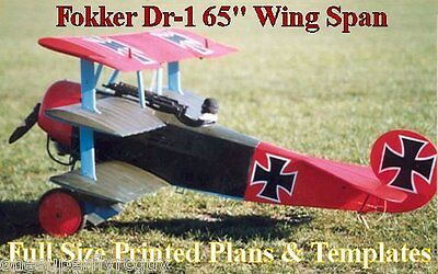 """Fokker DR1 65""""WS Giant 1/4 Scale RC Airplane Full Size PRINTED Plans & Templates"""