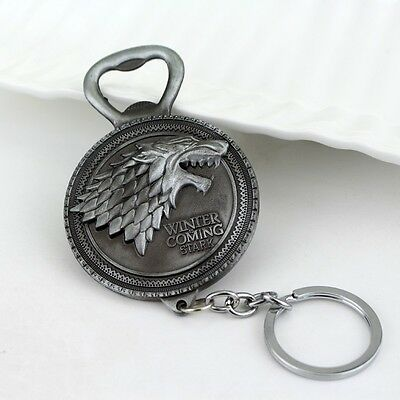GAME OF THRONES STARK BOTTLE OPENER Antique Silver KEYCHAIN *FREE SHIPPING*