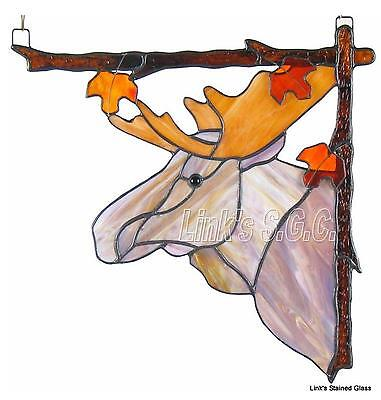 Stained Glass Moose Corner Window Hanging, Right