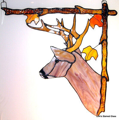 Stained Glass Deer Corner Window Hanging, Right