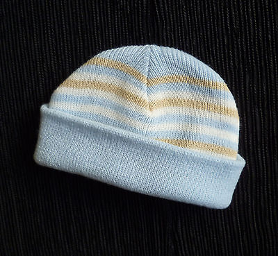 Baby clothes BOY newborn 0-1m knitted blue/beige stripe hat Early Days SEE SHOP!