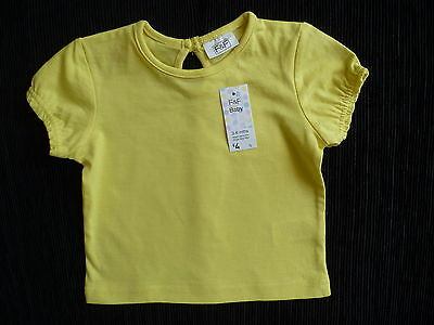 Baby clothes GIRL 3-6m F&F yellow cotton short sleeve t-shirt NEW! SEE  MY SHOP!
