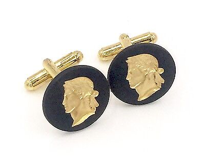 Authentic Black Jasperware Wedgwood Cameos w/Gold on Gold Plate Cufflinks - 20mm