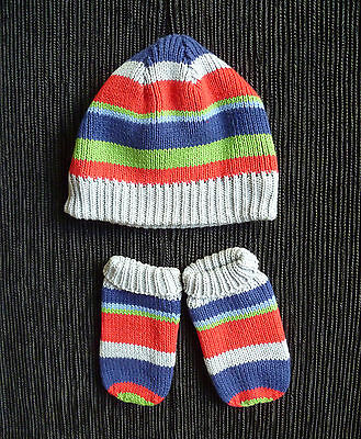 Baby clothes BOY 0-3m Minimode bright striped hat+mittens cotton lined SEE SHOP