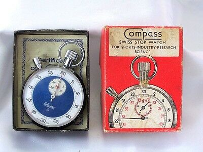 VINTAGE COMPASS BRAND SWISS STOPWATCH with box
