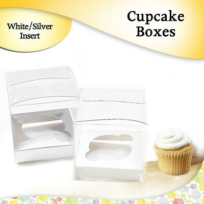 Cupcake Boxes Clear With White/Silver Inserts 9x9x9 Cm Cake Boxes Cake-Board