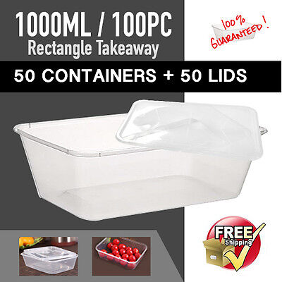 Disposable Takeaway Plastic Containers 50 Pc + 50Pc Lids 1000 ml Food Container