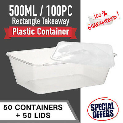 Take Away 50 Containers & Lids 50Pc 500 Ml Disposable Plastic Food Containers