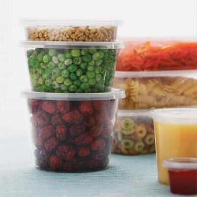 PLASTIC FOOD CONTAINERS ROUND Lids 100 PC DISPOSABLE TAKEAWAY 100 PC CONTAINERS
