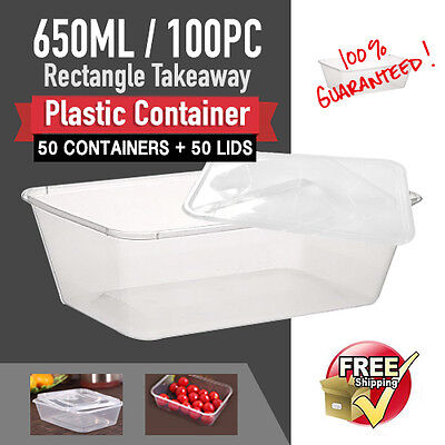 Take Away 50Pc Containers & Lids 50Pc 650 Ml Disposable Plastic Food Containers