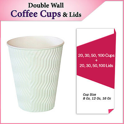 Double Wall Disposable Coffee Cups + Lids 20,30,50,100 Per Pack Wave White Bulk