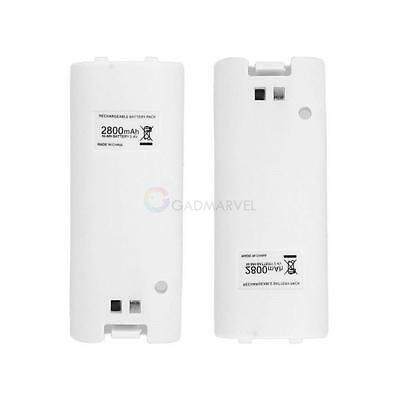 New Lot 2x 2800mah Rechargeable Battery for Wii Remote Controller White UK