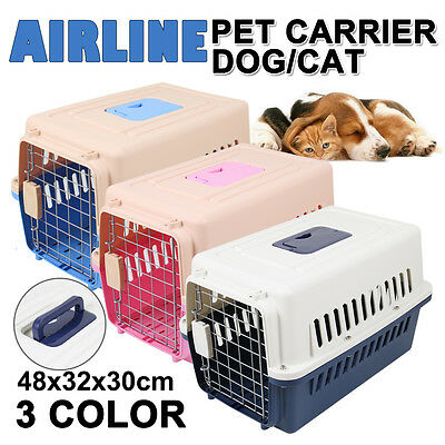 Pet Dog Car Cat  Airline Travel Carry Bag Plastic Cage Carrier Tote Crate S M L