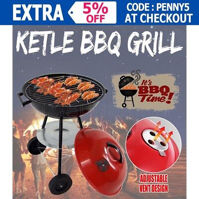 Outdoor  Portable Red Kettle Trolley BBQ Grill Charcoal Wood Barbeque Picnic New