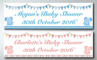 Personalised Baby Elephants And Bunting Baby Shower Large Paper Banner L@@k
