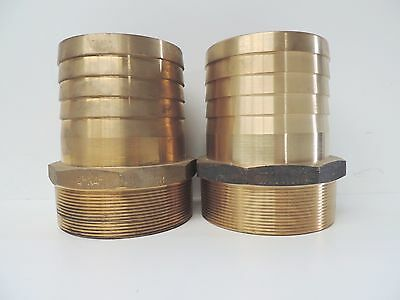 """NEW Hose Barb Brass 100mm 4"""" (QTY 2)  Male BSP - TOP QUALITY -Tail Fitting"""