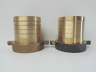 """NEW Hose Nut & Tail Brass 100mm 4"""" (QTY 2) - WITH LUG - Fitting Barb Female BSP"""