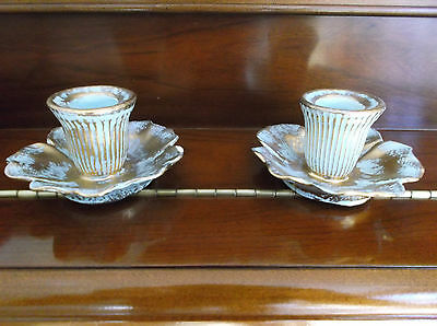 Pair Vintage Stangl Antique Gold & Turquoise Candle Holders #5138