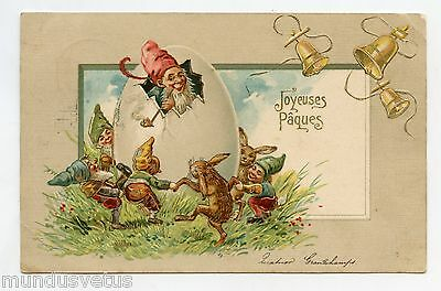 Joyeuses Paques . Lapins  . Gnomes .happy Easter . Rabbit . Dwarf. Pixie. Cloche