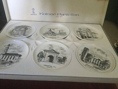 Kaiser Porzellan West German Set Of 6 Boxed Dishes With Scenes Of Frankenthal