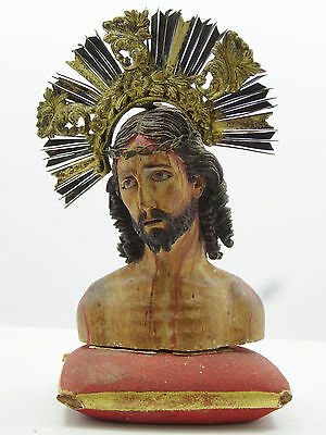 ANTIQUE 18 c HAND CARVED WOOD CHRIST POLYCHROME METAL CROWN GLASS EYES SCULPTURE