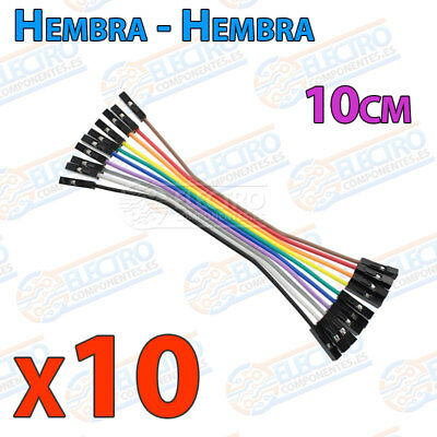 10 Cables 10cm Hembra Hembra jumper dupont 2,54 arduino protoboar cable