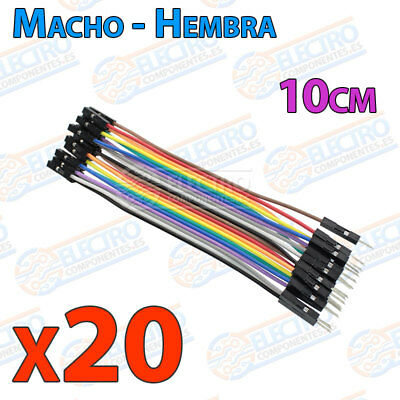 20 Cables 10cm Macho Hembra jumper dupont 2,54 arduino protoboar cable