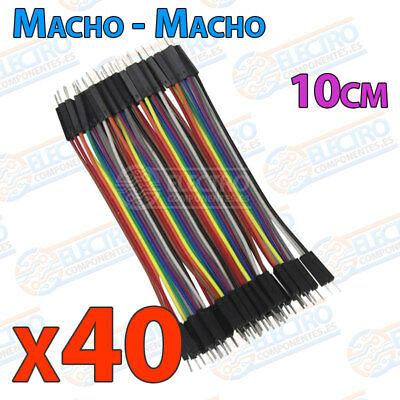 40 Cables 10cm Macho Macho jumper dupont 2,54 arduino protoboar cable