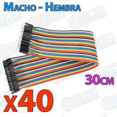 40 Cables 30cm Macho Hembra jumper dupont 2,54 arduino protoboar cable