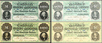 !Copy! 2 Old United States 1000 Dollars 1861 Montgomery Banknotes !Not Real!