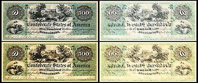 !copy! 2 Old United States 500 Dollars 1861 Montgomery Banknotes !not Real!
