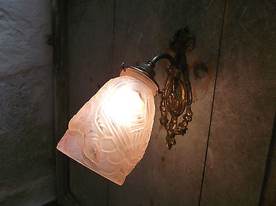 French antique c.1930 Art Deco  bronze wall light gorgeous glass pink shade • CAD $146.46