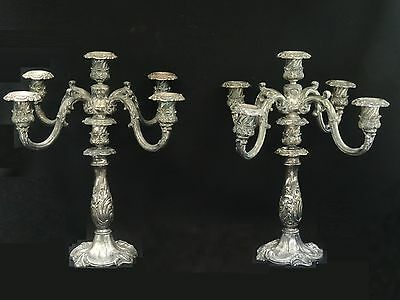 PAIR of ANTIQUE SILVER PLATE5 ARM LIGHT REED & BARTON #741 CANDELABRAS