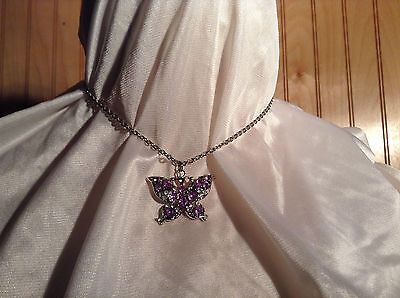 Purple Jewel Butterfly Silver Tone Pendant Necklace Slip Through Closure