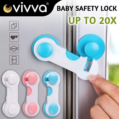 10XChild Kids Baby Safety Lock For Door Drawers Cupboard Cabinet Adhesive NEW