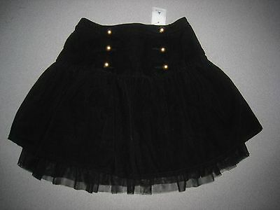 Nwt Baby Gap Girls Black Brick Lane Cadet Cord Tulle Skirt Size 5