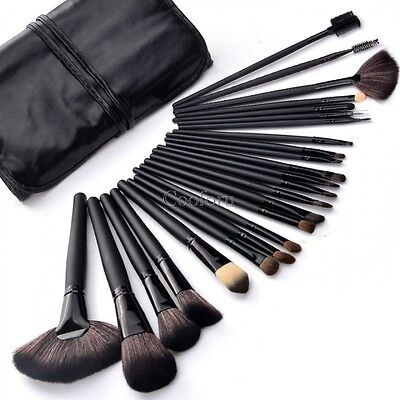 24 PCS Professional Black Cosmetic Brush Set Fashion Makeup Tools with Bag