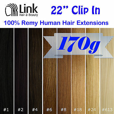 """22"""" Premium Clip In Remy Human Hair Extension (Thick) Black Brown Blonde"""