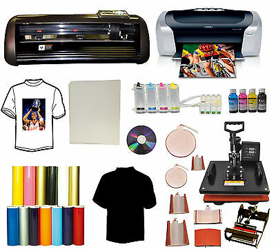 "13"" METAL Vinyl Cutter Plotter,8in1 Combo Heat Press,Printer,CISS Ink,PU vinyl"