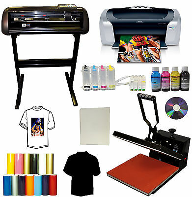 "15x15 Heat Transfer Press,24"" Metal Vinyl Cutter Plotter,Printer+CISS+Ink,Tshirt"