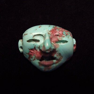 Ancient Pre-Columbian Mayan Turquoise Stone Mask Pendant ~Private collection!