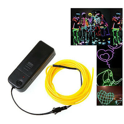 WS 5X 3M Flexible Neon Light Wire Rope Tube with Controller (Yellow) WS