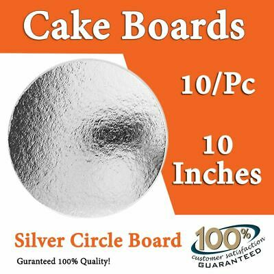 "Cake Board 10 Pc x 10 Inches"" Round Silver Circle Cardboard by Alpha Packaging"