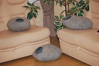 Cat Cave Handmade felted, 100% Natural (not coloured) Tyrol sheep wool